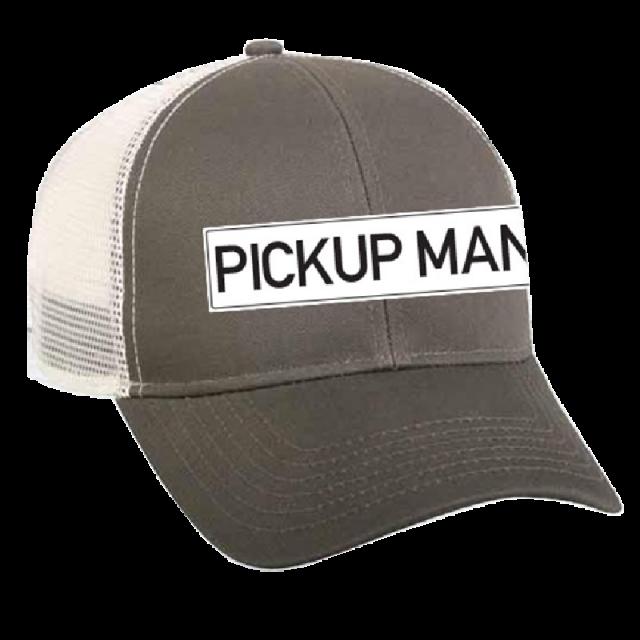 Pick Up Man Grey and White Ballcap